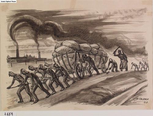 David Olère: painting of scene at Auschwitz Birkenau with smoking crematorium chimneys