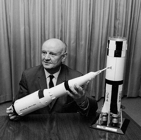 Arthur Rudolph with a model of the Saturn V