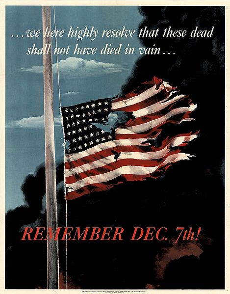 U.S. memorial poster of the Japanese attack on Pearl Harbor