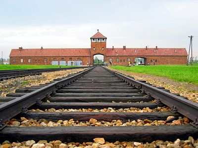 Main entry gate to the Auschwitz-Birkenau camp