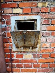 Dachau right Zyklon chute