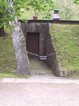 Entrance to alleged gas chamber in Auschwitz I