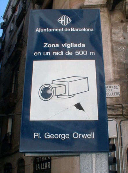 Cameras on Placa George Orwell, Spain