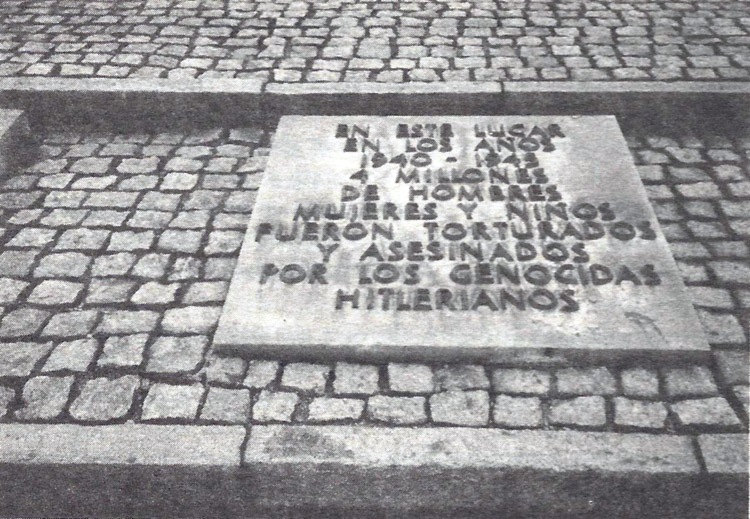 Inscription on the Birkenau monument