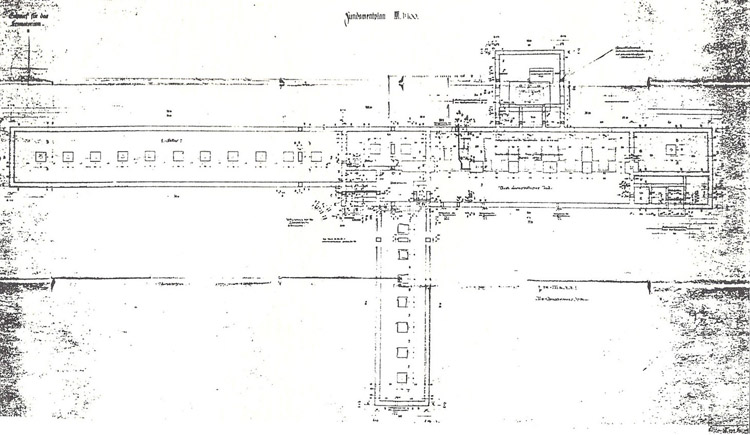Foundation blueprint of crematorium II, Auschwitz-Birkenau