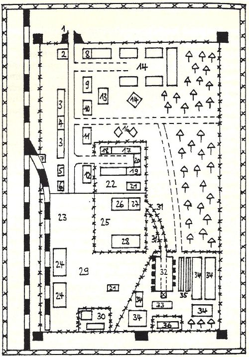Diagram of the Treblinka II camp from the 'Treblinka Trial' in Düsseldorf