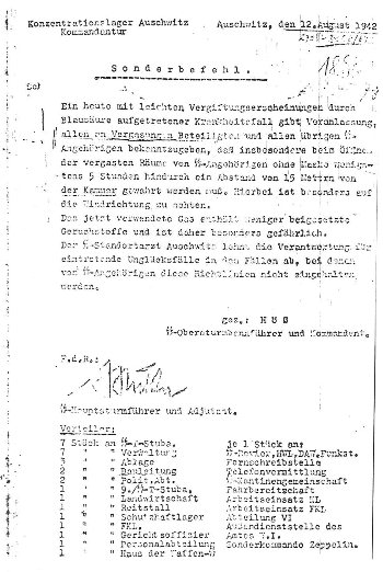 Höss letter of Aug. 12, 1946, re. accident during Zyklon B disinfestation