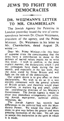 Jewish Declaration of War on Germany, London 'Times,' Sept. 6, 1939