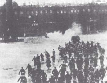 Bolshevik troops storm the Winter Palace, St. Petersburg, Nov. 7, 1917