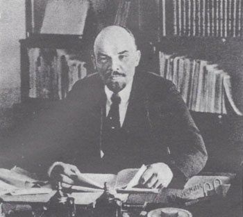 Lenin in his office in the Kremlin, 1918