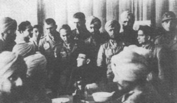Bose with officers of the Indian Legion, Berlin, 1942
