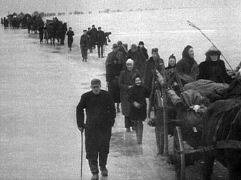 German refugees trek across the frozen 'Frisches Haff', East Prussia, Jan. 1945