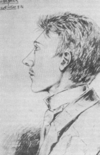 A sketch of the 16-year-old Hitler, drawn by a schoolmate