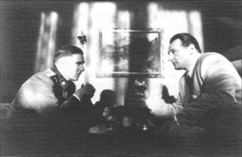 Scene from 'Schindler's List': Amon Goeth converses with Oskar Schindler