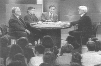 Bradley Smith, David Cole, Michael Shermer and Phil Donahue on the 'Donahue' show