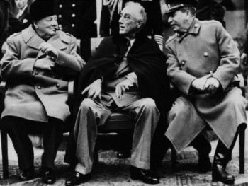 Churchill, Roosevelt and Stalin at the February 1945 Yalta Conference