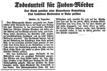 Death Sentence for Jew Murder, Germany 1937