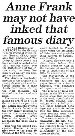 New York Post, Oct. 9, 1980: Anne Frank Diary not genuine