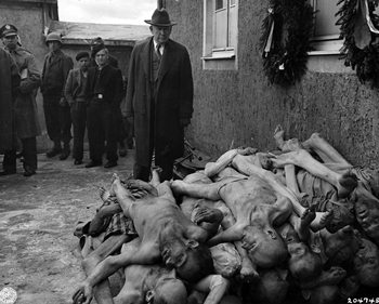 US Senator Alben Barkley at Buchenwald camp, April 1945