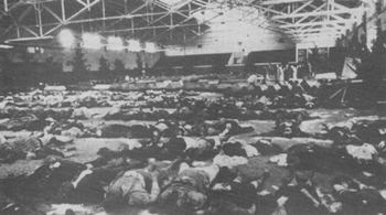 Victims of an Allied bombing raid on Berlin, December 1943, laid out in a gymnasium