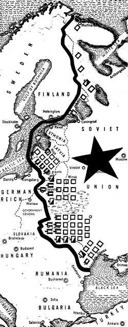 Soviet army build-up at western front, June 1941, map