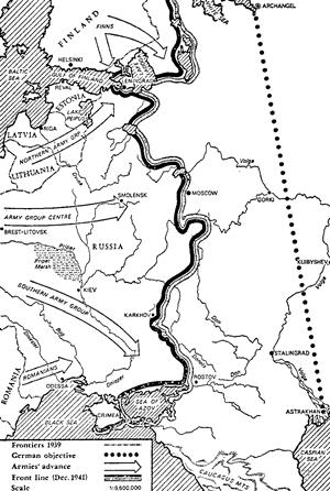 German advance into Russia, Dec. 1941, map
