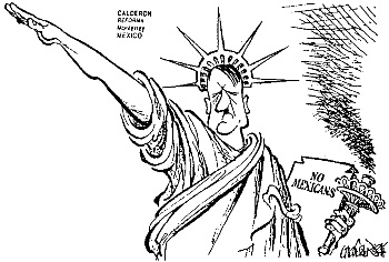 Cartoon in a Mexican newspaper: The Statue of Hitlery