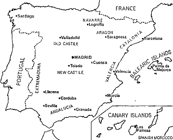 Map of Spain, showing the permanent tribunals of the Spanish Inquisition