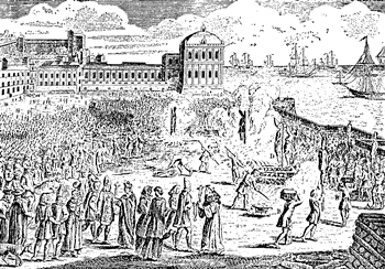 A public burning of heretics sentenced by the Inquisition