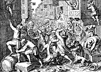 Contemporary print depicting pogrom in the Frankfurt Jewish quarter, 1614