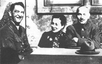 Chiang Kai-shek and his wife with US air force commander Claire Chennault in Chungking