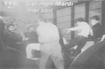 February 6, 1990, Jewish thugs attack Olivier Mathieu during TV interview