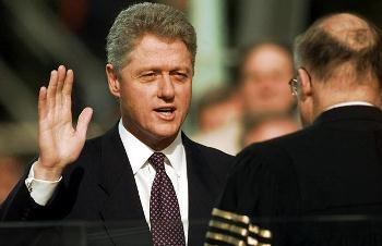 U.S. President Clinton being sworn into office