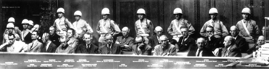 The 21 defendants in the dock at the International Military Tribunal, Nuremberg