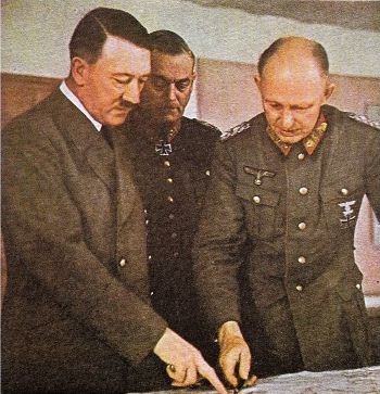 Hitler with General Alfred and Field Marshal Wilhelm Keitel
