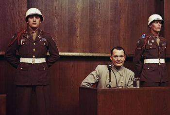 Hermann Göring in the dock during the IMT at Nuremberg