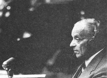 Franz Schlegelberger, a high-ranking Justice Ministry official, testifies at Nuremberg