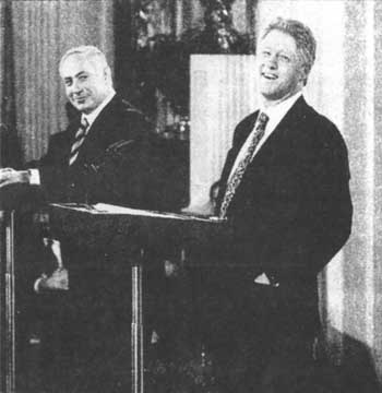 President Clinton with Israeli Prime Minister Benjamin Netanyahu at a White House news conference in February 1997