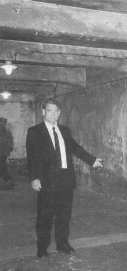 Fredrick Toben inside the 'gas chamber' at the Auschwitz I main camp, mid-April 1997