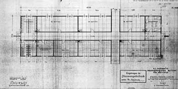 Architectural diagram, June 1943, of an Auschwitz camp barracks for sick inmates