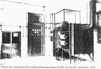 Microwave delousing facility at Auschwitz concentration camp, 1944 photograph