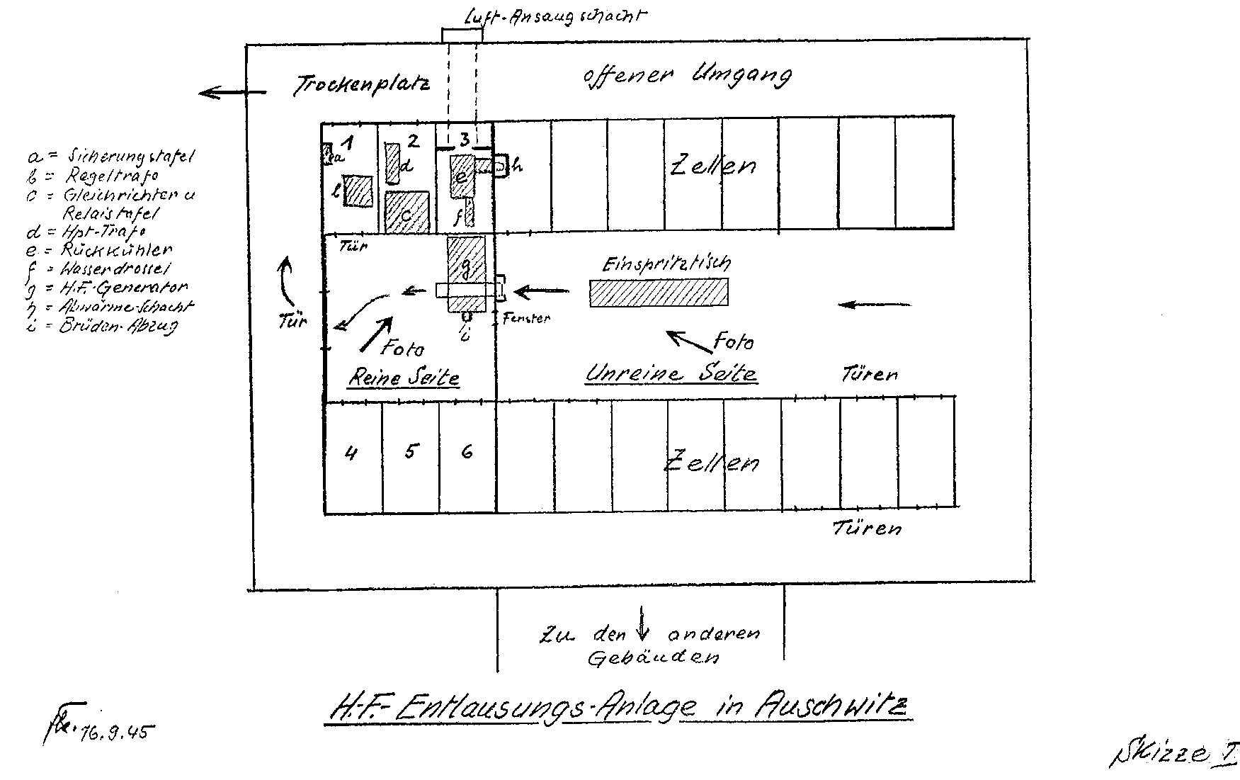 com high frequency delousing facilities at auschwitz postwar diagram of microwave delousing facility at auschwitz