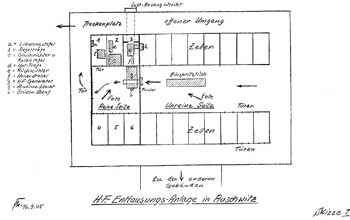 Postwar diagram of microwave delousing facility at Auschwitz