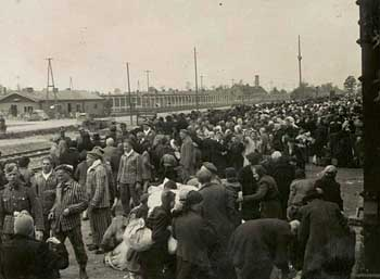 Auschwitz-Birkenau, Hungarian Jews arriving at the railway ramp, 1944