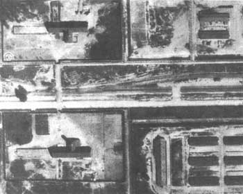 Auschwitz-Birkenau, Kremas II and III, air photo enlargement, June 26, 1944