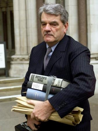 David Irving enters the London court building during the Irving-Lipstadt libel trial