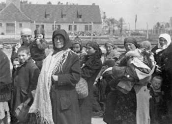 Some Hungarian Jews who have just arrived in Birkenau, apparently in late May or early June 1944