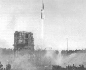 An A-4 missile (V-2) launched from Peenemünde, 1942 or 1943