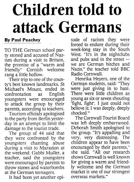 UK, London 'Times', June 7, 2000: Children told to attack Germans