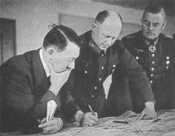 General Alfred Jodl, center, with Hitler and General Wilhelm Keitel